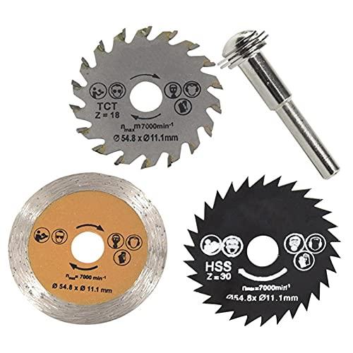Fácil de instalar cuchillas de sierra circular de corte de metal. 3 unids 54mm HSS Saw Blade Mini aleación Discos de corte de metal de aleación Piezas eléctricas Herramientas de madera Herramientas re