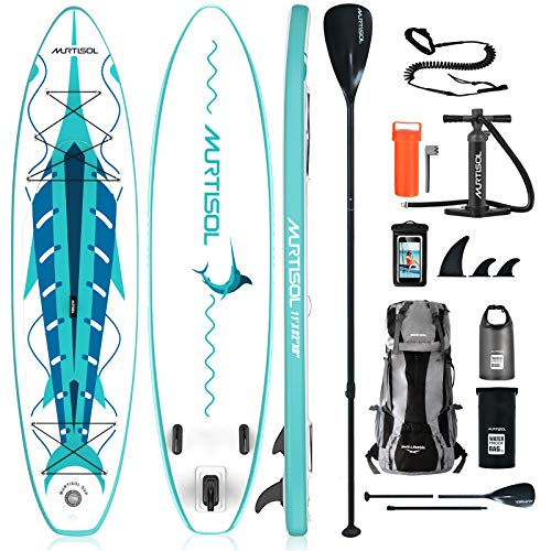 """Product Image 1: MURTISOL 11'32"""" 6"""" Inflatable Stand Up Paddle Board with Premium SUP Accessories, Bottom Fin for Paddling, Leash and Hand Pump Non-Slip Deck Standing Board with 2 Waterproof Bags,Green"""