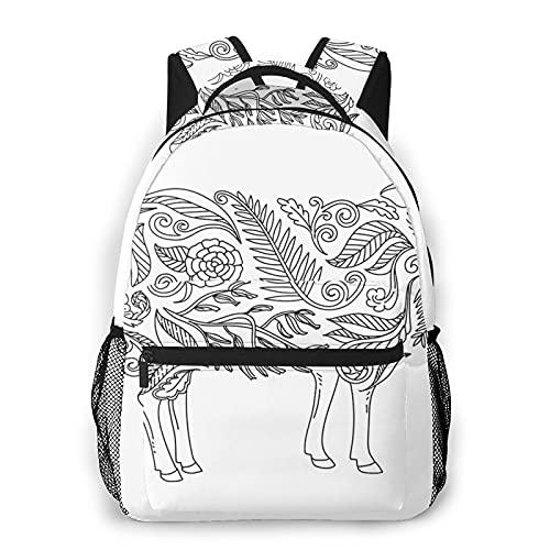 USGYY Rucksack Männer und Damen Tier Ausmalbild Schaf, Laptop Rucksäcke, Kinderrucksack Schulrucksack Daypack für Jungen Mädchen