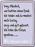 KMC Austria Design Cartel de chapa vintage Shabby Style como cuadro de pared 35 x 26 cm con texto impreso – tema de alcohol & Deal Hey alcohol wir Hatten einen Deal