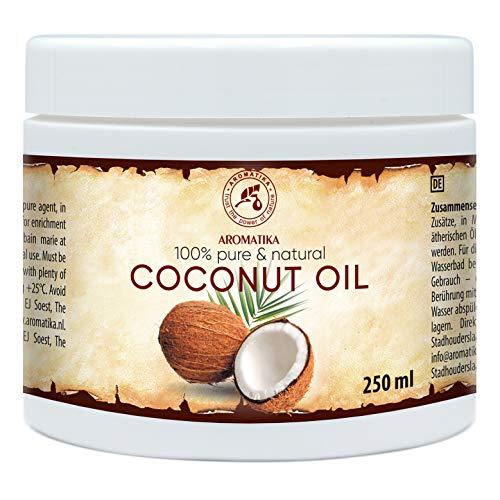 Kokosöl 250ml - Cocos Nucifera - Indonesien - Kaltgepresst - 100{6a84fd83ea918572ddd0d54a63801c27cbcc9c2e941b01eacdeeda635eacfb55} Rein & Natürlich - Kokosnussöl - Unraffiniert - Körperbutter - Pflege für Gesicht - Haar - Körper - Coconut Oil