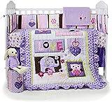USTIDE Parure de lit 7 pièces pour lit bébé avec housse de coussin, drap-housse et jupe de lit pour fille Motif hibou violet et éléphant
