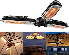 LIRUI Electric Patio Heater, 1500 Watts Folding Outdoor Electric Infrared Space Heater with 3 Heating Panels for Parasol Umbrella