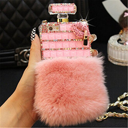 Fusicase for iPhone 7 Plus/iPhone 8 Plus Perfume Case Luxury Perfume Bottle Bling Rex Rabbit Fur Bling Diamond Hair Sleeve Plush Back Case Cover with Crossbody Neck Strap Lanyard (Pink)