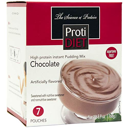 ProtiDiet Protein Pudding - Chocolate (7/Box) - High Protein 15g - Low Calorie - Low Fat