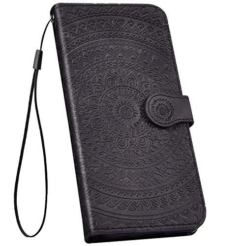 Ysimee kompatibel mit Samsung Galaxy J5 2017 Hülle Bookstyle PU Leder Schutzhülle Wallet Flip Ledertasche Case Handyhülle Lederhülle Handy Tasche Schale [Standfunktion] [Kartenfach], Mandala Schwarz