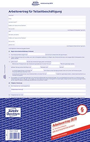 AVERY Zweckform 2878 Arbeitsvertrag für Teilzeitbeschäftigung (A4, 5 Sätze, 4-seitig, selbstdurchschreibender Durchschlag, abgestimmt auf geringfügige Beschäftigung, von Rechtsexperten geprüft)