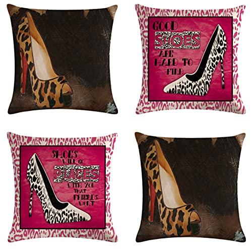 JOVEGSRVA Juego de 4 fundas de cojín con diseño de leopardo y tacones altos decorativos, para el hogar, oficina, sofá, coche, jardín, 45 x 45 cm