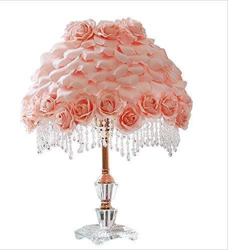 Lámparas de Escritorio Lámparas de Mesa y Mesilla Lámpara de mesa de cristal de Pastoral Wind Princess, lámpara de pétalo de Rose del paño, iluminación casera del dormitorio de la sala de estar, regal