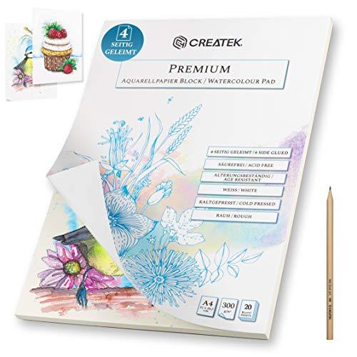 CreaTek Aquarellpapier A4 | 20 Blatt | 300g | 4-seitig geleimt, endlich Keine welligen Bilder mehr + Gratis Illustrationen zum abpausen - hochwertiger Aquarellblock A4 für Anfänger Watercolor Paper