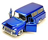 Jada Toys New 1:24 Display - Big Time Kustoms - Blue 1957 Chevy Suburban Diecast Model Car
