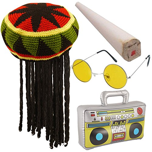 Labreeze Rasta Jamaika Hat Fake Spliff aufblasbares Boom Box Brille Karibik Fancy Kleid