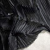 Tessuto al metro- Tessuto Plissettato Tridimensionale Di Design, Abbigliamento Fai Da Te, Tessuto A Fisarmonica Pieghettato, Nero