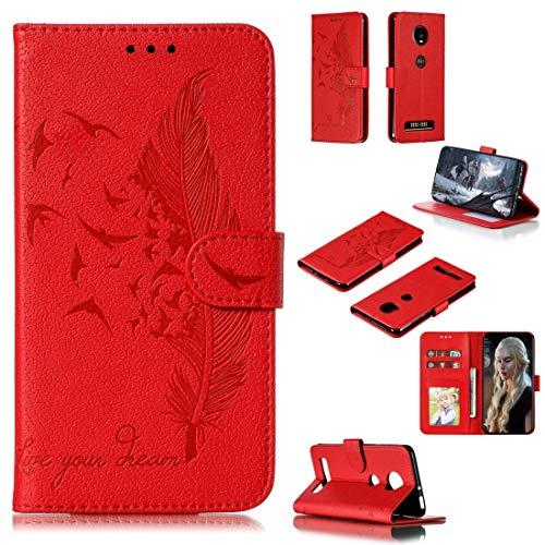 LISUONG MCDC Aydd Patrón de Plumas Litchi Texture Horizontal Flip Funda de Cuero con Cartera y Soporte y Ranuras de Tarjetas para Motorola Moto Z4 Play (Rojo) (Color : Red)