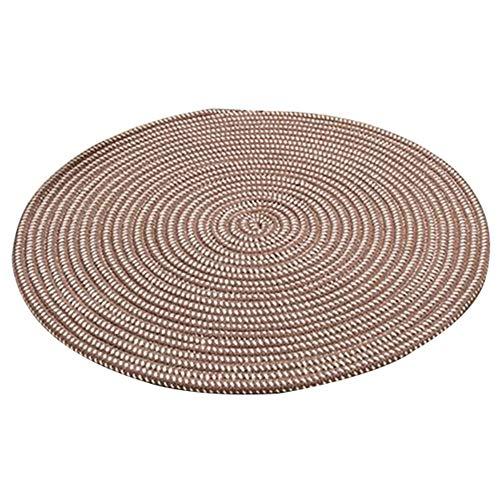 GUORRUI Teppich Rund Strohmatte Hergestellt Von rutschfest Verschleißfest Runde Form Modern Einfach Yoga Zuhause, 8 Stile, 7 Größen (Farbe : E, größe : Diameter-80cm)