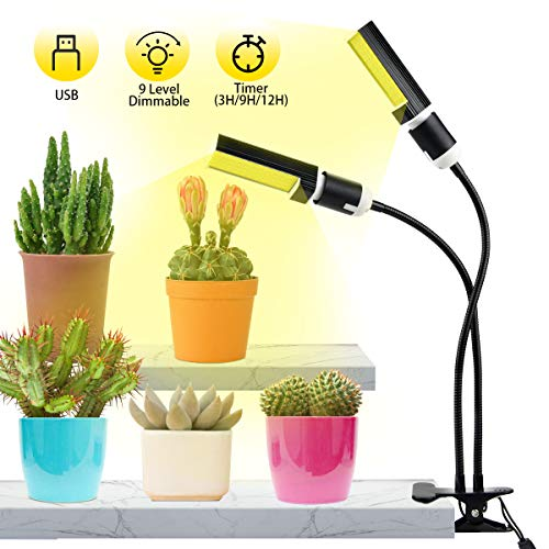 Lampe de Plante,Qomolo 45W 88LED Lampe de Croissance pour Plante Dimmable 9 Niveaux,Spectre Complet Double Tête Éclairage pour Plantes Intérieur légumes et Fleurs,Avec 3 Modes Minuterie(3H/9H/12H)