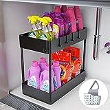 Under Sink Organizer, Under Sink Organizers and Storage Under Sink Shelf 2 Tier Under Sink Organizer Rack Under Sink Storage for Kitchen Bathroom Countertop And Cabinet,Bath Collection Baskets Black