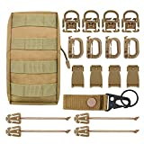 "MGFLASHFORCE Kit of 18 Molle Attachments Molle Carabiner Clips and Straps for 1"" Webbing, Molle Bags, Tactical Backpack, Tactical Vest, Tactical Belt Molle Accessories (Tan)"