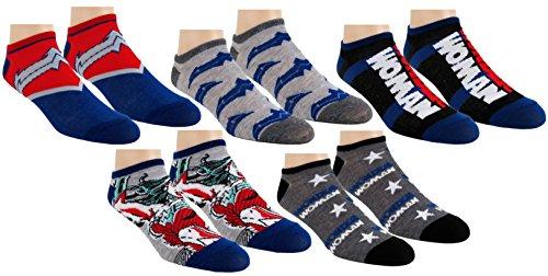 DC Comics Damen Socken Wonder Woman Knöchel-No Show 5er-Pack, Einheitsgröße, WW Blau