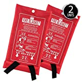 Deke 2 Pack fire Blanket Fiberglass Emergency Blanket Suppression Blanket. Flame Retardant...