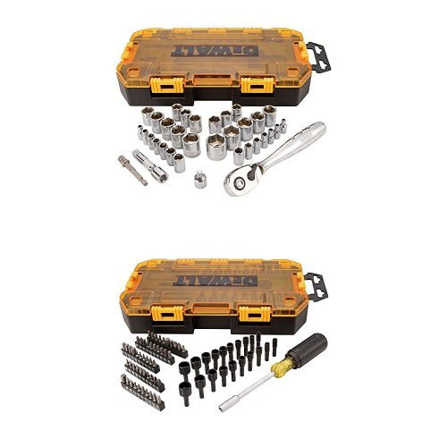"DWMT73808 Tough Box Multi-Bit & Nut Driver Set (70 Piece), 1/4"" w/ DWMT73804 Tough Box Drive Socket Set (34 Piece), 1/4"" and 3/8"""