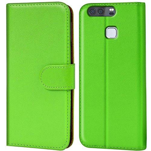 Verco P9 Hülle, Handyhülle für Huawei P9 Tasche PU Leder Flip Hülle Brieftasche - Grün