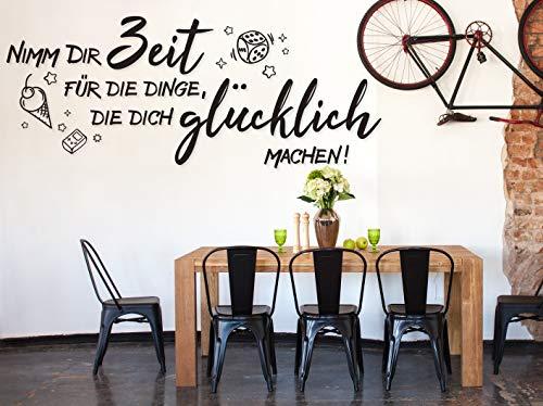 tjapalo® a10 wandtattoo nimm dir zeit um glücklich zu sein modern Wandtatoo Esszimmer Küche Wandaufkleber Wandsprüche für Wohnzimmer, Farbe: Weiß, Größe: B80xH32cm