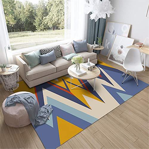 Kunsen Alfombra Grande alfombras de Comedor Alfombra de Cortocircuito Sala de Estar Dormitorio Rectangular Azul Amarillo arroz alfombras Lisas 200X300CM 6ft 6.7' X9ft 10.1'