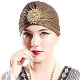 ArtiDeco Sombrero turbante para mujer con cristales, estilo
