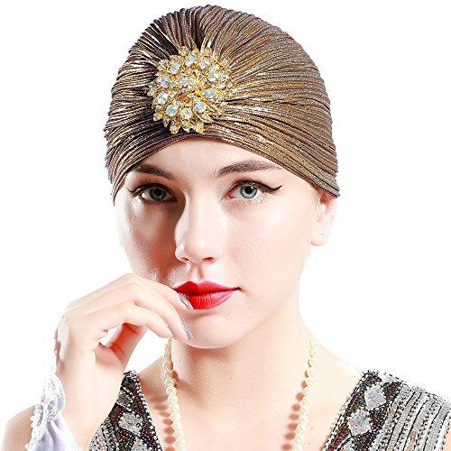 ArtiDeco Damen Turban Hut mit Kristall 1920s Retro Kopf Accessoires (Dunkelgold)