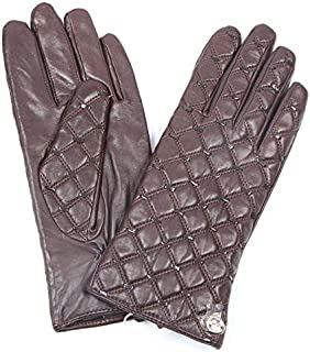 SHENTIANWEI Women's Leather Gloves Classic Square Embroidery Autumn and Winter Warm Thin Gloves (Color : Brown, Size : XL)
