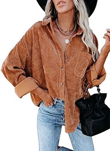 Women's Corduroy Button Down Pocket Shirts...