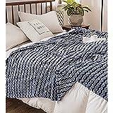 FLORYARD Manta bohemia colorida para decoración de colcha, manta de microfibra suave y cálida para sofá, cama, silla, oficina, sala de estar, cama doble, azul marino, 150 x 200 cm