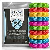 TravPack® Premium Bracelets Anti-moustiques (x10)–Garder Les moustiques à Now. marché Leader Anti-Insectes, scientifiquement conçu avec 250Heures Utilisation par Bracelet.
