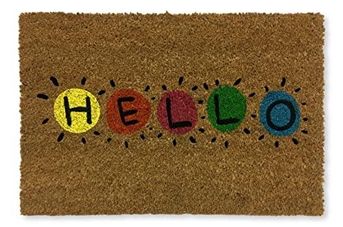 KOKO DOORMATS felpudos Entrada casa Originales, Fibra de Coco y PVC, Felpudo Exterior, Hello, 40x60x1.5 cm | Alfombra Puerta Entrada casa Exterior | Felpudos Divertidos para Puerta