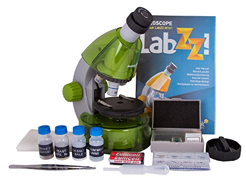 Levenhuk LabZZ M101 Lime Microscope for Kids with Experiment Kit – Choose Your Favorite Color