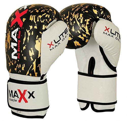 16oz Maxx Blue//White boxing gloves Junior kids /& adult sizes Rex leather 4oz 8oz