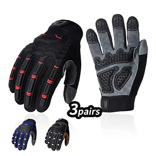 Vgo 3Pairs Heren Herten Split Lederen Heavy Duty Work Handschoenen met Palm Padding, Touchscreen Compatibel, klittenbandsluiting (3Kleuren, DA9704) Large 3colours
