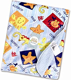 Baby Bucket AC Double Layer Velvet Fleece Newborn Printed Baby Blanket (VEL SEA Animal)