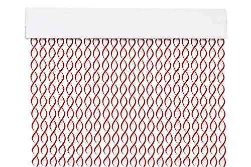 MERCURY TEXTIL Cortina para Puerta Tiras PVC 200x90cm,Cortina para Puerta Exterior,10 Color (Blanco+Filo Granate)