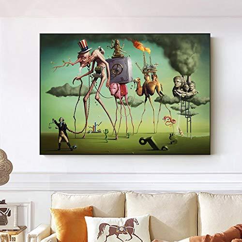 wmyzfs El sueño Americano de Salvador Dali Arte de la Pared Pinturas sobre Lienzo Reproducciones de Cuadros Famosos Imágenes de la Pared para la Sala de Estar 70x100cm sin Marco