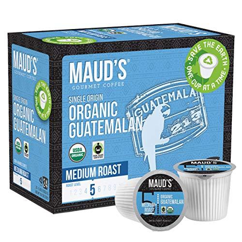 Maud's Organic Guatemalan Coffee (Medium Dark Roast Coffee), 24ct. Recyclable Single Serve Fair Trade Single Origin Organic Guatemalan Coffee Pods - 100% Arabica Coffee, Organic K Cups Compatible