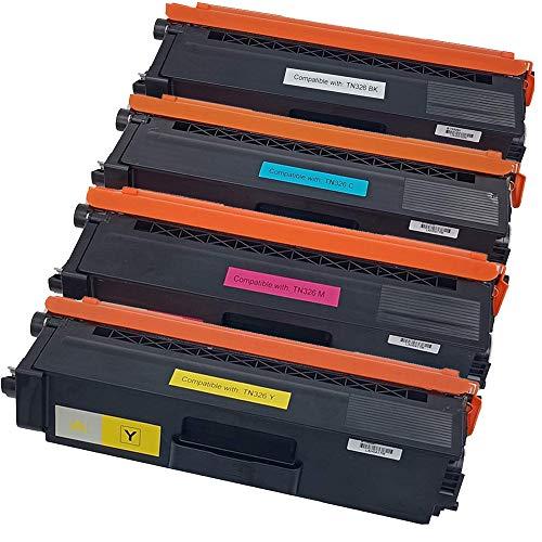 Office Ink Toner Cartucho de Tóner Compatible Reemplazo para Brother TN-326 HL-L8250CDN HL-L8350CDW MFC-L8600CDW MFC-L8850CDW MFC-L8650CDW DCP-L8400CDN DCP-L8450CDW L8350CDWT (BK, C, M, Y) 4 piezas