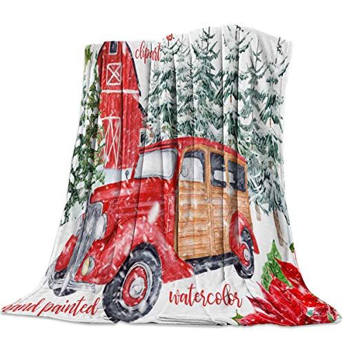 AEMAPE Manta de Tiro para sofá Cama, una casa roja y una camioneta en un Bosque de pinos nevados - Manta de Viaje Ligera y cálida para Acampar 50 'x 60'