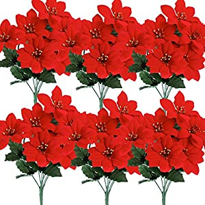 Cekene Christmas Artificial Poinsettia Flowers Decorations, 6 Pack Fake Flowers with Stem Flannel Artificial Red Bouquets Vase Decoration Flowers for Home Wedding Party Table Centerpieces Decor