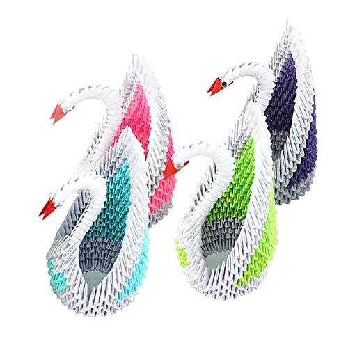 Origami/Triángulo hecho a mano Plus Papel Tutorial/Color Swan Material Package Set-Rojo + verde