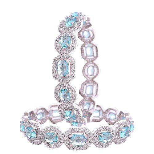 Ratnavali Jewels CZ Zirkonia Silber Ton Blau Türkis Diamant Indische Armreifen Bollywood Schmuck Frauen