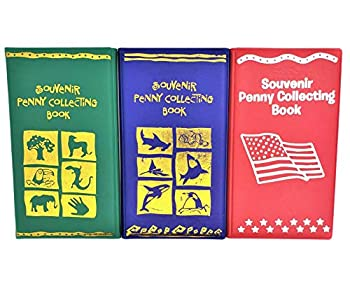 Souvenir Penny Collecting Books  3 Pack  for Rare and Elongated Pennies! Red-Silver US Flag Green-Zoo Animals Blue-Sea Creatures