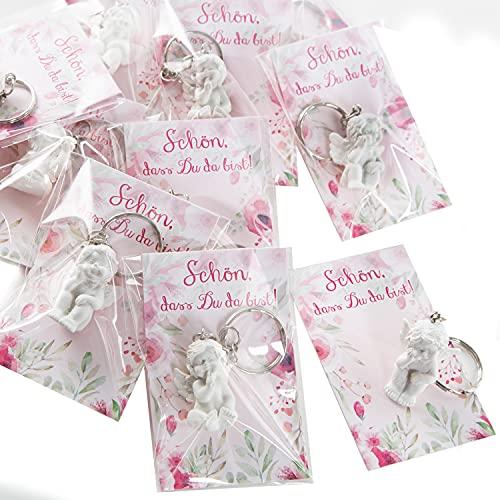 """Logbuch-Verlag 10 pequeños regalos para invitados – Colgante de ángel con tarjeta """"Schön, DASS du da bist"""", rosa y blanco, regalo para invitados en bautizo o cumpleaños infantil"""