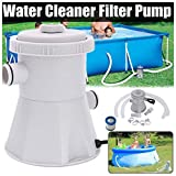 The Card Zoo Cartridge Filter Pump for Above Ground Pools, 110V 330 GPH Easy Set Swimming Pool Pumps, Electric Swimming Pool Filter Pump with Pools Cleaning Tool Set + 1 Filter Cartridge (A)